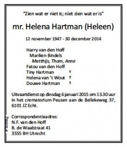 overlijdensbericht HHartman